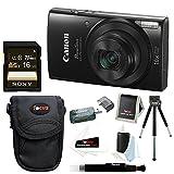 Canon PowerShot ELPH 190 IS 20 MP Digital Camera (Black) + Sony 16GB Memory Card + Focus Medium Point & Shoot Camera Accessory Bundle