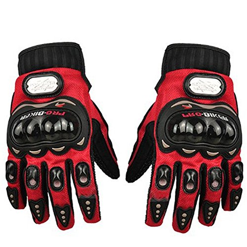 Full Finger Motorcycle Airsoftsports Riding Racing Tactical Gloves Cycling Sport Gloves (L, Red)