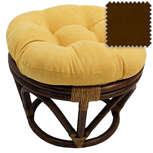 (18-Inch Bali Rattan Papasan Footstool with Cushion - Solid Microsuede Fabric, Chocolate - DCG Stores Exclusive)