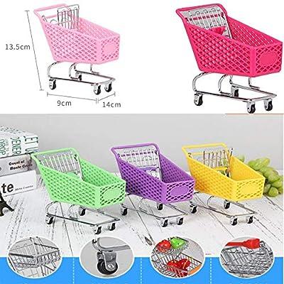 Blancho Bedding Mini Supermarket Handcart Mini Shopping Cart Toy,Desktop Storage,Hot Pink #1: Toys & Games