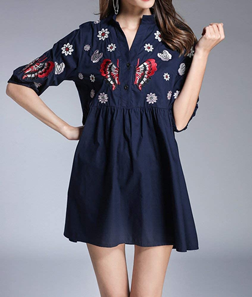 Dark bluee Haiyugua Women's Heavy Work Embroidered Long Section high Waist A Word Slim Slimming Shirt Dress