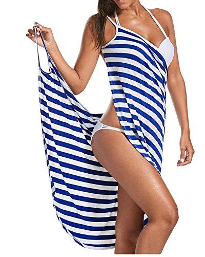 ZAFUL Women's Striped Beach Coverup Dress Swimsuits Spaghetti Strap Sexy Backless Bikini Wrap Dress(Blue,XL) (Drape Skirt Dress)