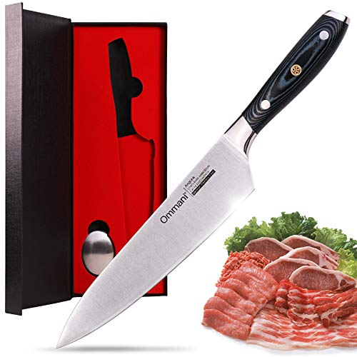 8'' Kitchen knife, High Carbon Stainless Steel Chef Knife Non-slip Durable MICARTA Handle Chef Knife by Ommani