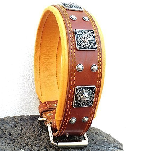 Bestia ''EROS Genuine Leather Dog Collar, Large Breeds, Cane Corso, Rottweiler, Boxer, Bullmastiff, Dogo, Quality Dog Collar, 100% Leather, Studded, L- XXL Size, 2.5 inch Wide. Padded. Made in Europe!
