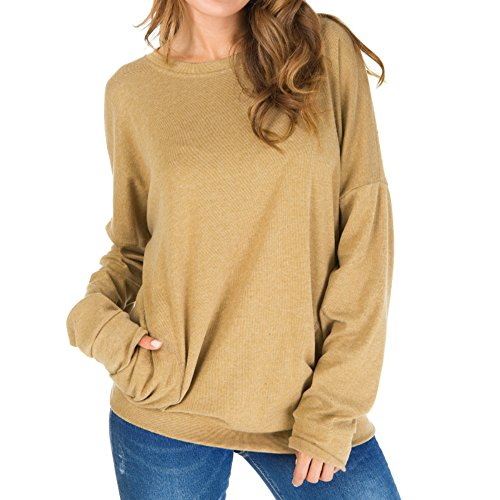 Primoda Womens Loose Long Sleeve Round Neck Sweatshirt Casual Tunics Blouses (Tan,L)