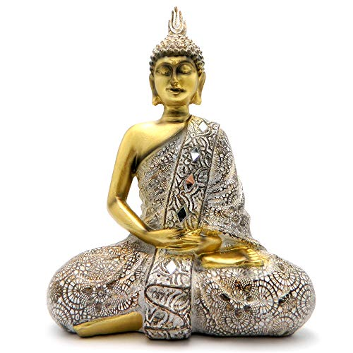 Rockin Buddha Statue Gold Antiques Mosaic - 10 inches Tall Pattern Decoration Mantra Buddha Home Decoration Office Meditation Room Temple (Gold Buddha Statue)