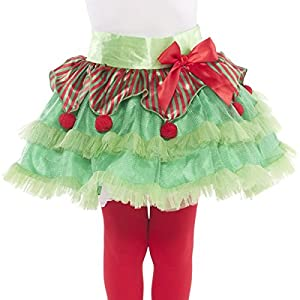 Elf Tutu- Child - 51z7NeBnVML - amscan Fun-Filled Christmas & Holiday Party Elf Tutu – Child , Red/Green, Tulle , Pack of 1 Costume