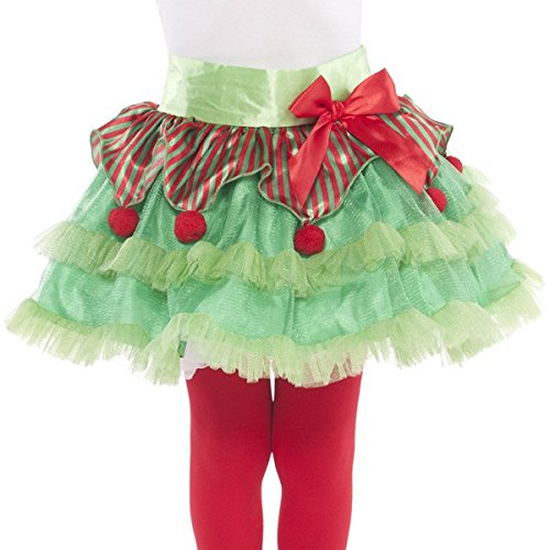 amscan Fun-Filled Christmas & Holiday Party Elf Tutu - Child , Red/Green, Tulle , Pack of 1 Costume