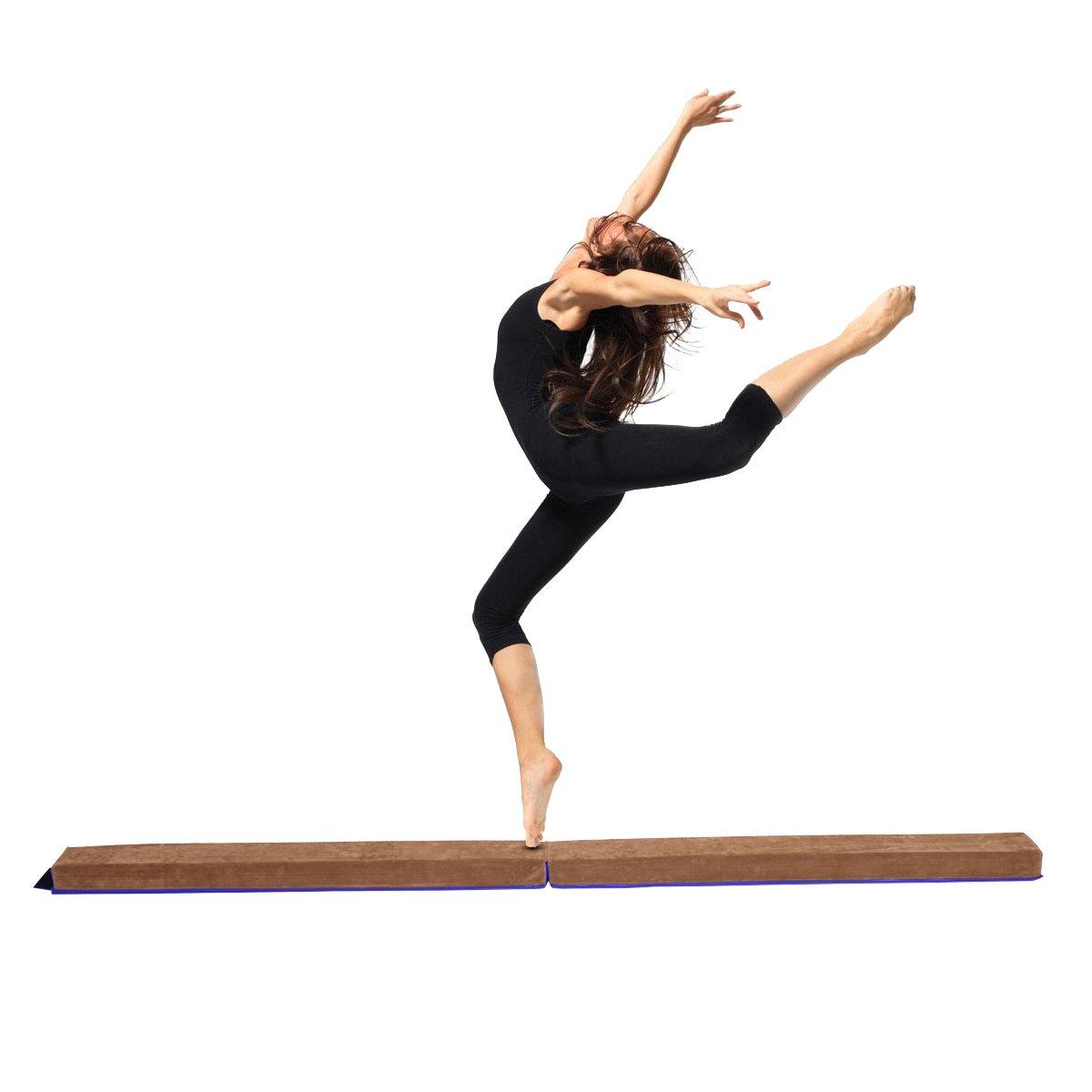 Blitzzauber 24 Poutre Gymnastique Poutre d'équilibre Pliable en Simili-Cuir 2,4m