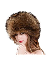 Goddessvan Women's Winter Faux Fur Hat with Stretch Cossack Russion Style Warm Cap