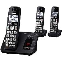 PANASONIC DECT 6.0 Sistema de teléfono inalámbrico expandible con contestador automático y bloqueo de llamadas - 3 auriculares - KX-TGE433B (Negro)