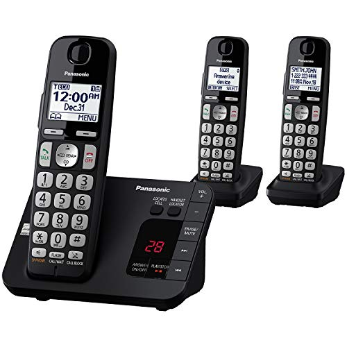 - PANASONIC DECT 6.0 Expandable Cordless Phone System with Answering Machine and Call Blocking - 3 Handsets - KX-TGE433B (Black)