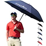 Athletico 62/68 inch Automatic Open Golf Umbrella - Extra Large Double Canopy Umbrella is Windproof and Waterproof - Features Ergonomic Rubber Handle