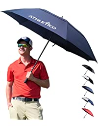 68 Inch Automatic Open Golf Umbrella - Extra Large Double Canopy Umbrella Is Windproof and Waterproof - Features Ergonomic Rubber Handle (Navy Blue, 68 inch)