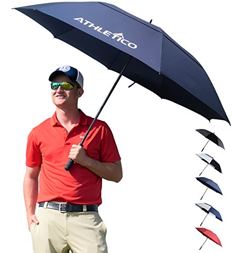 Athletico 68 Inch Automatic Open Golf Umbrella - Extra Large Double Canopy Umbrella is Windproof and Waterproof - Features Ergonomic Rubber Handle (Navy Blue, 68 inch)