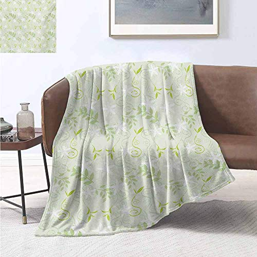 Pokemon Leaf Green Map (jecycleus Mint Children's Blanket Swirling Floral Branches with Leaves and Flower Florets Nature Print Lightweight Soft Warm and Comfortable W91 by L60 Inch Lime and Fern Green)