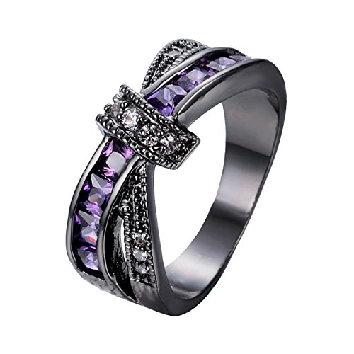 Womens Zircon Rings Cross Black Gold Wedding Ring Christmas Mother's Day Gifts Size 5-10,Purple,5 by Kissmilk