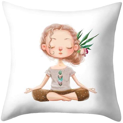 Roblue Funda de cojín niña de Yoga Decoración para salón ...