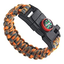 Paracord Survival Bracelet | Hiking Multi Tool with Emergency Whistle, Compass, Knife, and Fire Starter | Amazing for Hiking, Camping, Outdoors Life-Saving Emergencies | 5 in 1 Total Survival Set