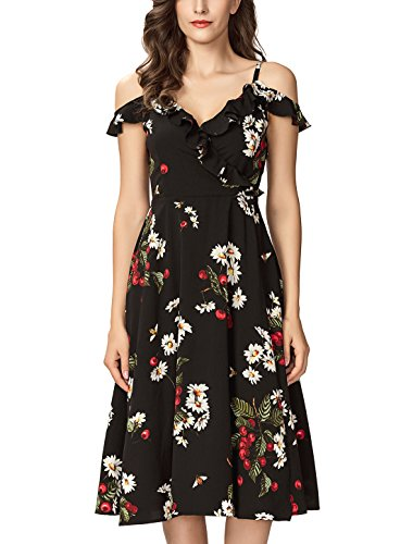 Noctflos Women's Floral Chiffon Summer Cold Shoulder Cocktail Party Midi Dress (Small, Cherry - Check Printed Dress