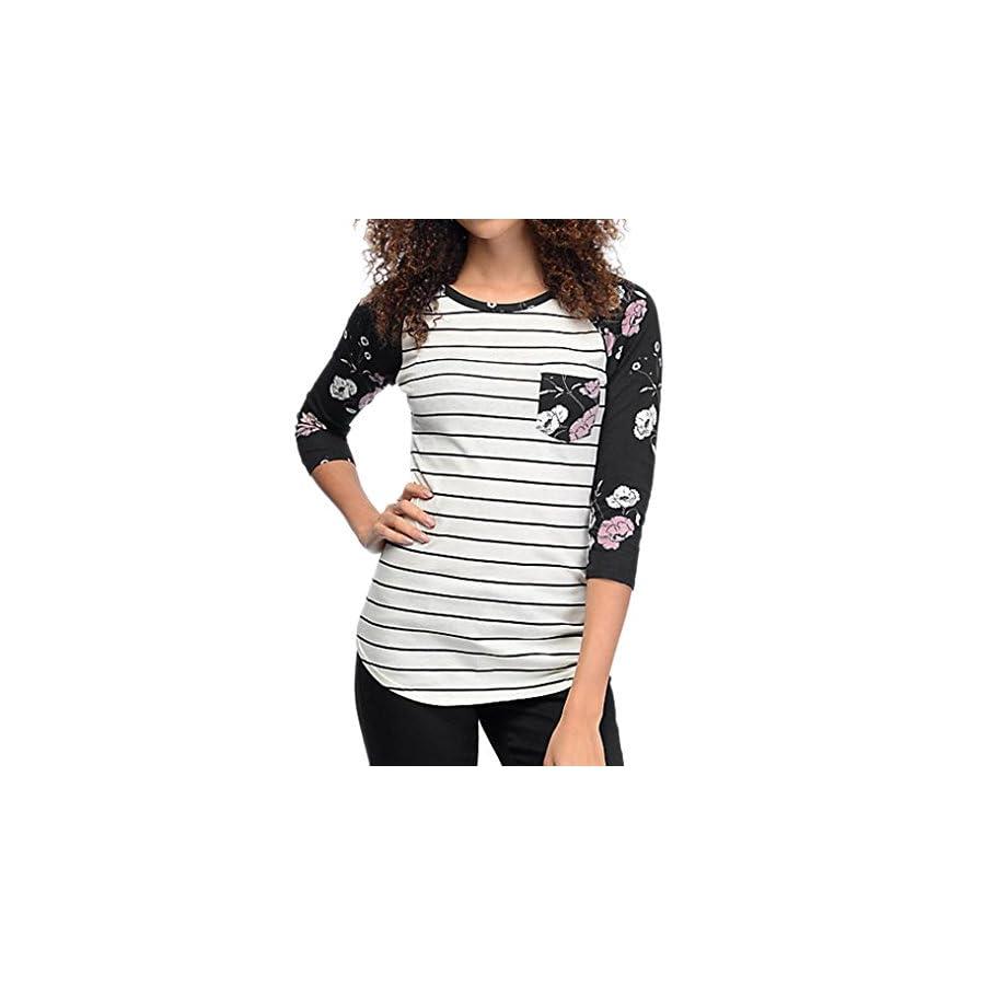 Long Sleeve Tops, Hmlai Women Autumn Long Sleeve Stripe Floral Shirt Casual Blouse Tops