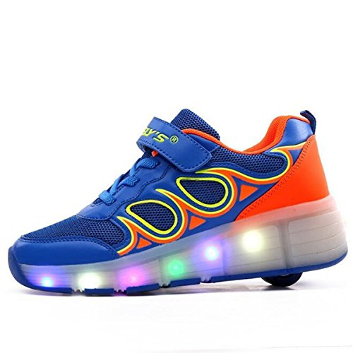 Boys Girls LED Light Single Wheel colorful LED Roller Skate Shoes Light Up Shoes Blue1.5 M US Little - Day Macy's Open Christmas