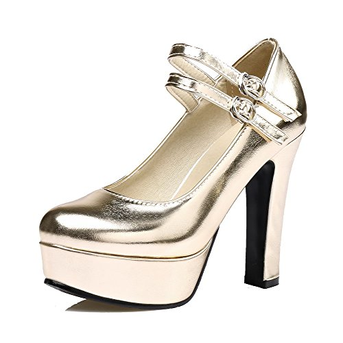 VogueZone009 Women's Round-Toe Buckle PU Solid High-Heels Pumps-Shoes Gold Ad3weH