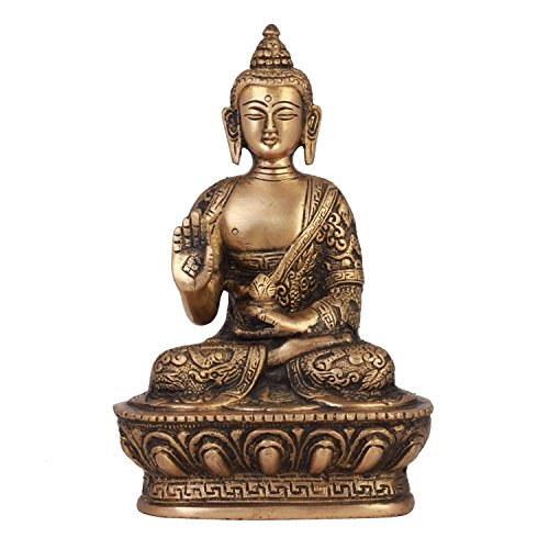 ShopEndHere Blessing Buddha Idol 7 Inch Tall , Hand Crafted Lifestory Buddha Statue, Fine Carving, Antique Brass Sculpture, Vintage Decorative, Valuable Collection, Rustic Finish
