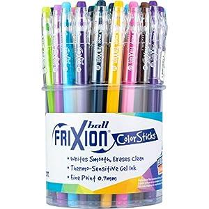 PILOT FriXion ColorSticks Erasable Gel Ink Stick Pens, Fine Point, Assorted Color Inks, Tub of 36 (5805)