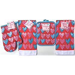 Valentine Heart Pattern Kitchen Dish Towels Pot Holder Oven Mitt Set, 4Pc.