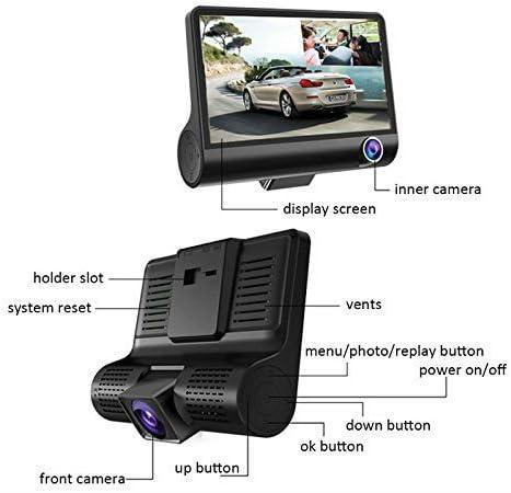 Detecci/ón De Movimiento Monitor De Inversi/ón g-Sensor Hangang Car Dash Cam 1080p Fhd 3 Canales Car Dashbord Camera Grabaci/ón En Bucle 140 Grados De Gran Angular Car Recorder Con 4 Ips Display