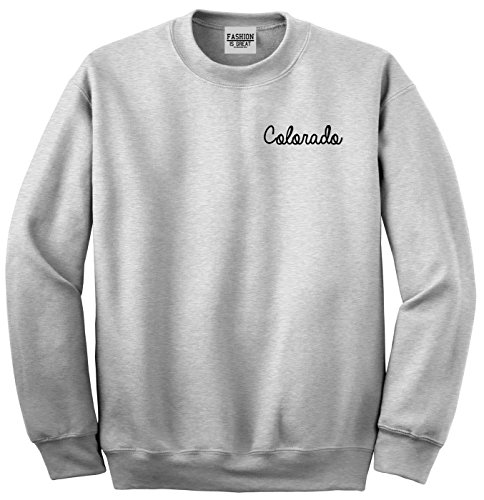 Colorado Pullover - Colorado CO Script Chest Crewneck Sweatshirt Grey Medium