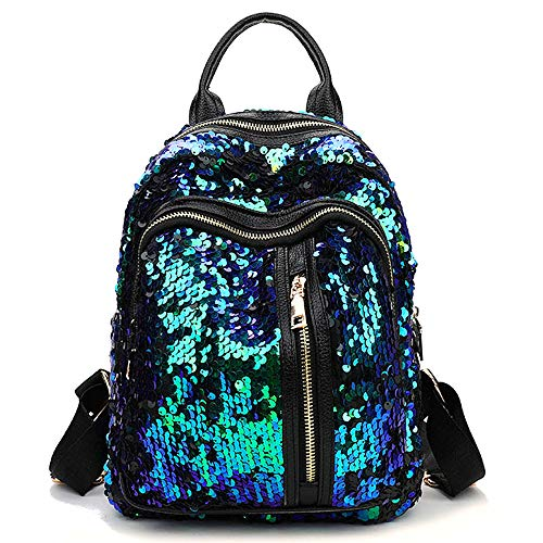 Chiclinco Mini Sparklely Mermaid Sequin Backpack Rucksack Schoolbag for Women Teenage Girls (Blue & Green) -