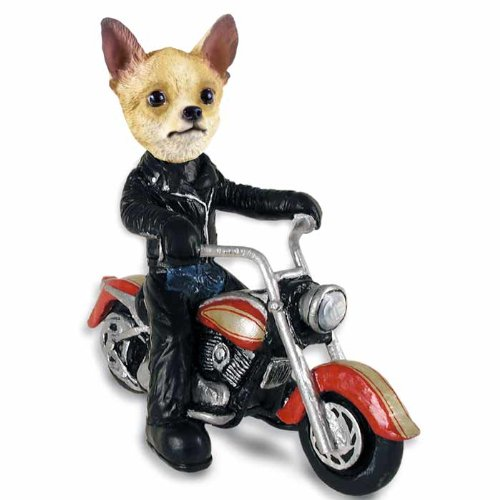 Chihuahua Tan/White Motorcycle Doogie Collectable Figurine