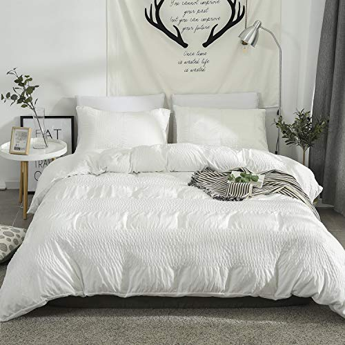 DuShow White Solid Duvet Cover Set Queen Seersucker Textured Comforter Cover Set with Zipper Closure Hotel Collection Ultra Soft Duvet Cover Set 3 Pieces(1 Duvet Cover and 2 -