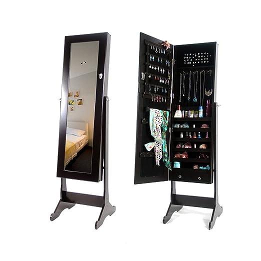 Gabinete de joyería de espejo de cuerpo entero Gabinete de la joyería la pared bloqueable / la puerta montó el organizador de la joyería con el espejo con ...