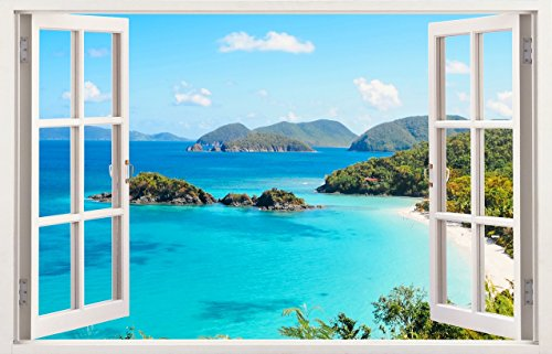 Mi Alma 3D Removable Vinyl Wall Mural Stickers White Window Frame Design – Wide Variety of Realistic Views – Easy to Apply Simply Peel & Stick – Incomparably Durable Wall Decals (Tropical Bay)