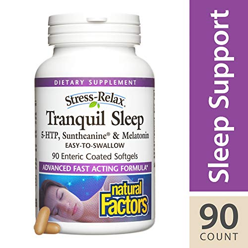 - Stress-Relax Tranquil Sleep by Natural Factors, Sleep Aid with Suntheanine L-Theanine, 5-HTP, Melatonin, 90 softgels (45 Servings)