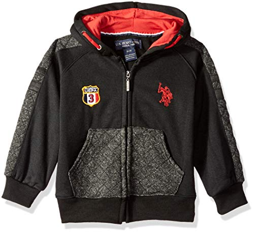 U.S. Polo Assn. Boys' Little Long Fleece Hoodie, Sleeve Taping Black, 5/6 - Stitched Logo Hoody Sweatshirt