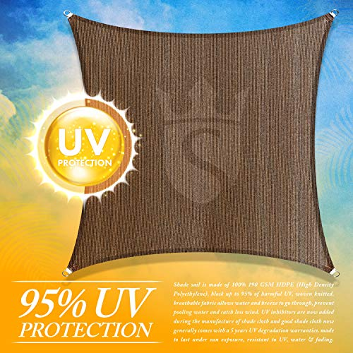Royal Shade Custom Size 7 x 8 Brown Sun Shade Sail Canopy UV Block Rectangle – Commercial Standard Heavy Duty – 200 GSM – 5 Years Warranty