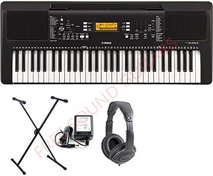 Yamaha PSR E363, Teclado con soporte, Teclado con auriculares y cargador