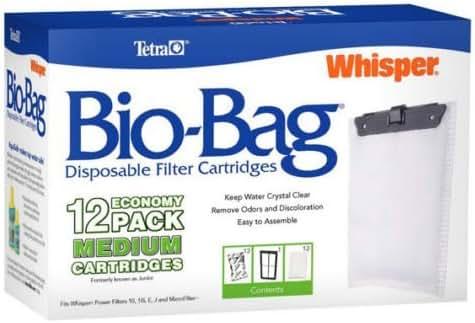TETRA MEDIUM BIO BAGS FOR WHISPER POWER FILTERS. FITS 10, 10i, E & J - 12 PACK