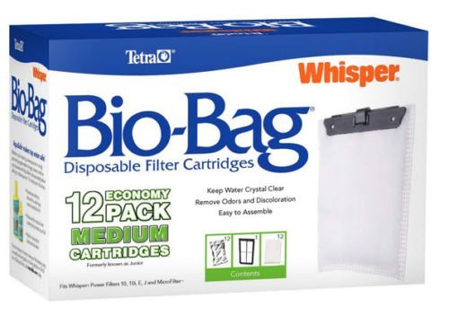 Bio Bag Refills - TETRA MEDIUM BIO BAGS FOR WHISPER POWER FILTERS. FITS 10, 10i, E & J - 12 PACK