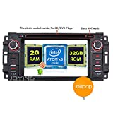 JOYING Android Radio 2GB Intel Quad Core Bluetooth 4.0 Android 5.1 Car Stereo for Jeep Wrangler JK Dodge Ram Challenger Single Din Touch Screen Head Unit without DVD Player