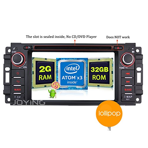 Wrangler Dodge - JOYING Android Radio 2GB Intel Quad Core Bluetooth 4.0 Android 5.1 Car Stereo for Jeep Wrangler JK Dodge Ram Challenger Single Din Touch Screen Head Unit without DVD Player
