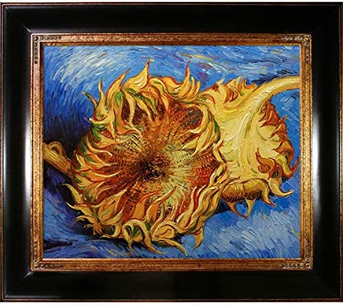 overstockArt Two Cut Sunflowers with Opulent Framed Oil Painting, 33 x 29 , Dark Stained Wood with Gold Trim