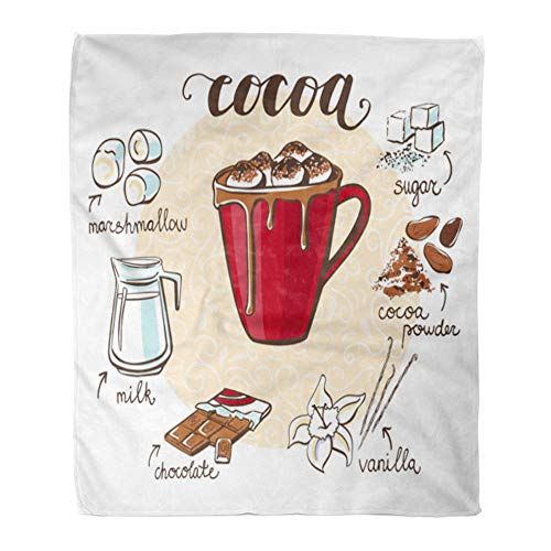 Emvency Throw Blanket Warm Cozy Print Flannel Hot Drink Cocoa Marshmallow Cup Non Alcoholic Beverage and Doodle Ingredients Comfortable Soft for Bed Sofa and Couch 50x60 Inches from Emvency