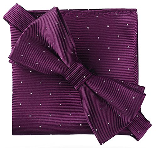 (Flairs New York Gentleman's Essentials Bow Tie and Pocket Square Matching Set (Regular Bow Tie & Pocket Square Set, Prince Purple [Glitter Dot Print]) )