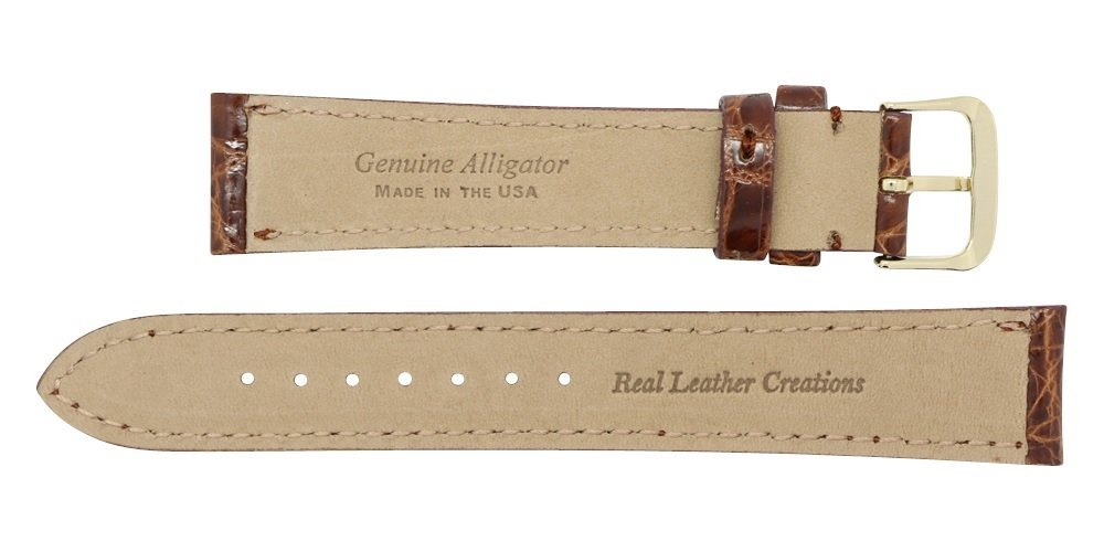 20mm Cognac Genuine Alligator - Padded Stitched – Glazed Shiny Smaller Tile – Watch Strap Band - Gold & Silver Buckles Included – Factory Direct - Made in The USA by Real Leather Creations FBA362 by Real Leather Creations (Image #4)