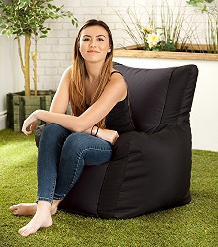 Black Water Resistant 'Layla' Outdoor Bean Bag Arm Chair Hippo